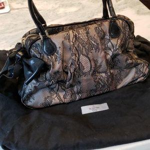 Valentino Garavani Black Lace Bow Bag